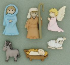 Nativity Buttons set of 6, Dress it Up Buttons, Christmas Buttons Holiday Buttons
