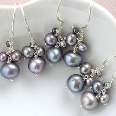 Bridesmaid Gift Set, 3 Pairs of Pearl Cluster Earrings,  Grey Freshwater Pearls in Sterling Silver, Bridesmaid Gift, Pearl Dangle Earrings