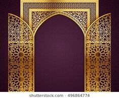 Ramadan background with golden arch, wit opened doors, with golden arabic pattern, background for holy month of muslim community Ramadan Kareem, EPS 10 contains transparency Islamic Decor, Islamic Art, Ramadan Background, Arabic Pattern, Backdrop Design, Arabic Design, Vintage Frames, Islamic Architecture, Elements Of Art
