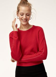 Red Sweater, pairs with Light Wash Ripped Denim Jeans, White Stiletto Sock Heels and Jean Jacket. Red Sweaters, Cardigans, Socks And Heels, Spring Summer 2018, Fashion Models, Sweater Cardigan, Style Me, Fashion Photography, Turtle Neck