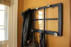 DIY+Door+Knob+Coat+Rack | door knob coat rack from an old window! | For the Home