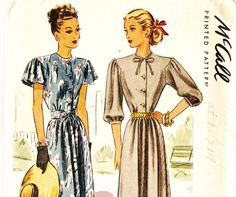 McCall 6649 Vintage 1940s Dress with Cape or by DRCRosePatterns
