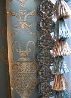 French blue and cream drapery and tassel Window Coverings, Window Treatments, Curtains And Draperies, Luxury Curtains, Valances, Stoff Design, Drapery Designs, Pelmets, Passementerie