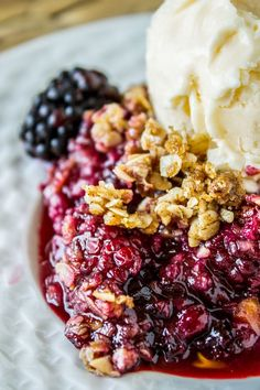 This to-die-for Blackberry Cobbler is so easy it's ridiculous! The crunchy oat topping comes together super fast, and is the perfect compliment to one of summer's finest fruits!!