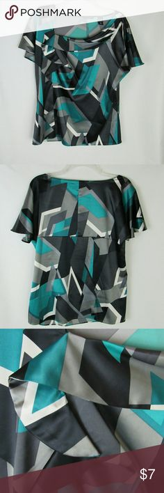 NY & Company short sleeve career blouse Green, black, cream, & gray abstract print in GUC. No snags, stains, etc. 96% poly, 4% spandex Length = 26 inches Bust =42 inches (armhole to armhole x 2) New York & Company Tops Blouses