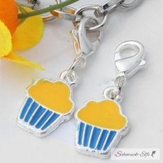Muffin Charm  Emaille gelb / türkis