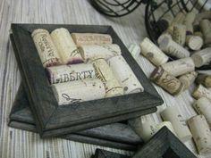 frame filled with corks