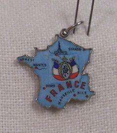 Vintage REU Sterling/Enamel Map of France w/Flag Charm