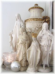 All white Catholic home altar Madonna, Statues, Prayer Corner, Meditation Altar, Lady Of Lourdes, Home Altar, Religion, Blessed Mother Mary, Altar Decorations