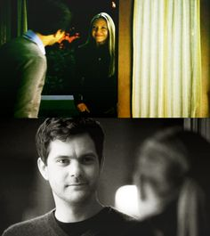 Her- long blond hair, serious Him- dark and handsome, comic relief No wonder I love this couple!