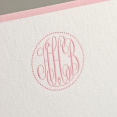 Bespoke Stationery | Bone White Empire Card with Stanton Pink Borders and Stanton Pink Monogram.