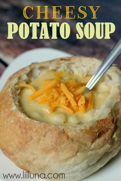 Cheesy Potato Soup. Stick all the ingredients in the crockpot for a few hours, and you're done.