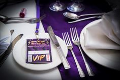 rockfest wedding favour vip festival lanyard pass http://www.wedfest.co/amy-marks-purple-rock-n-roll-wedding-stationery/