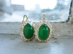 Vintage 18K Gold Earrings with Green by TambourineJewelry on Etsy