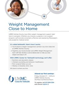 University of Mississippi Medical Center - Center for Telehealth - Weight Management Patient Flyer (Oct. 2016)