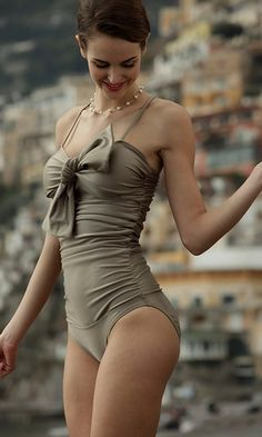 pretty bow bronzy taupe one piece swimsuit