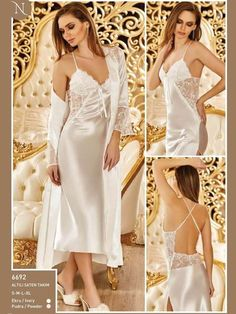 Nurteks 6692 Satin Six Team Nurteks is very elegant and elegant with its new season products and models. Overnight, night dressing gown, kimono suit, shorts suit, six suit and babydol designed for dowry and special occasions you can find many products. Pyjama Satin, Satin Sleepwear, Nightwear, Sexy Night Dress, Night Gown, Beautiful Lingerie, Beautiful Gowns, Bridal Nightgown, Wedding Night Lingerie