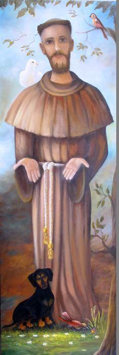 """São Francisco de Assis e Lucky. Tela pintada à mão por Clélia Cesário, em óleo sobre tela. Veja detalhes no site <a href=""""https://cleliacesario.wordpress.com/2015/11/08/sao-francisco-de-assis-e-lucky/"""" rel=""""nofollow"""" target=""""_blank"""">cleliacesario.wor...</a>"""