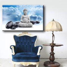Large Size Box Framed Canvas Print Artwork Stretched Gallery Wrapped Wall Art Like Painting Hanging Original Decorative Modern Home Living Decor Buddha Statue Indian Yoga Om Bamboo Prayer God Kharma Chakras * Click image for more details. Framed Canvas Prints, Artwork Prints, Canvas Frame, Indian Yoga, Buddha Decor, Box Frames, Chakras, Home And Living, Prayer