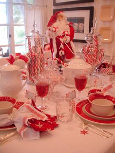 Tablescape - candycane and Santa red inspired table ***I like the double napkins***