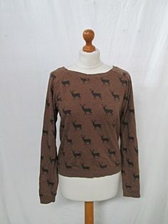 Vintage 1980s 80s Brown Stag Print Indie Ladies Sweater Top Jumper Small S | eBay
