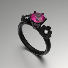 Nature Classic 14K Black Gold 1.0 Ct Pink by GormanDesigns on Etsy