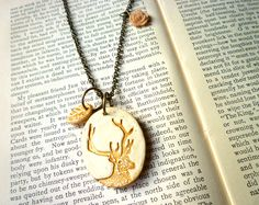 Deer Necklace Gold and Cream - Woodlands - Forest