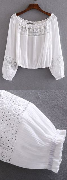 """White Boat Neck Elastic Cuff Crochet Blouse. Is this a really """"crochet"""" blouse now? And if you like it, click to get it."""