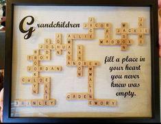 Best Diy Christmas Presents For Mom Scrabble Tiles Ideas Scrabble Letter Crafts, Scrabble Art, Crafts With Scrabble Tiles, Scrabble Family Names, Scrabble Coasters, Puzzle Crafts, Scrabble Frame, Christmas Presents For Moms, Diy Christmas Gifts