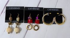 Lot of 3 New CATHERINES Dangle Hoop Nickel Free Sensitive Ear Fashion Earrings #Catherines #DropDangleHoop