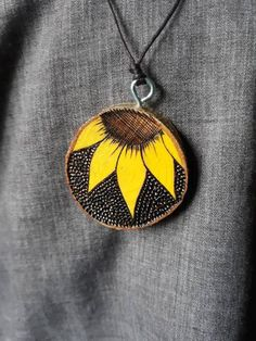 Wood Burning Crafts, Wood Burning Art, Wooden Necklace, Wooden Jewelry, Mother Day Gifts, Gifts For Mom, Terracotta Jewellery Designs, Sunflower Necklace, Fabric Jewelry