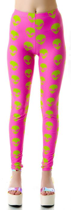 Dark Moon Cult Abduct Me Now Leggings | Dolls Kill  Pink & lime, my weakness! <3