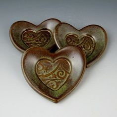 Slab Pottery Ideas | Tiny and Cute Heart Dish - 3 Inch with Stars and Swirls Pattern in ...