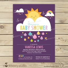 Baby Shower Invitation - Sunshine Baby Shower Invitation Printable - You Are My Sunshine Baby Shower Invites - Rainbow Baby Shower Invites by stockberrystudio on Etsy https://www.etsy.com/listing/213657456/baby-shower-invitation-sunshine-baby