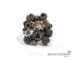 Anillo de plata con diamante herkimer Colección SIEGA