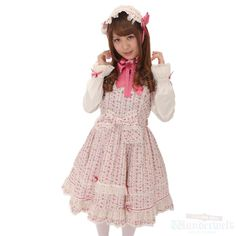 [♡ There is a commodity of Angelic pretty ♡] Floral pattern short sleeve dress & bonnet Very cute dress of Small flower pattern. Recommended for those who prefer the sweet Lolita. http://www.wunderwelt.jp/products/detail1547.html