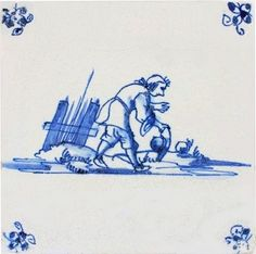 Antique Dutch Delft tile in blue, depicting a shepherd taking off his hat, 17th century.