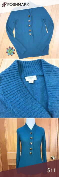 J.  CREW cashmere blend sweater, S. J.Crew teal button sweater, size small. Material is 38% viscose, 34% nylon, 23% well, 5% cashmere. The J Crew tag has come on stitched on one side, if that is important to you. Bust is 16 inches and stretchy, length is 24 inches. This shows some all over light pilling and wash wear, is priced accordingly. It's a great chance to get a JCrew cashmere blend sweater at a great price! J. Crew Sweaters V-Necks