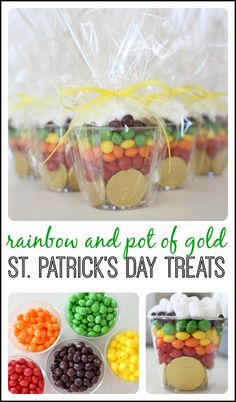 Rainbow treats for St. Patricks Day! Here's what you'll need:  A giant bag of Skittles, golden chocolate coins, marshmallows, clear Solo cups, scissors. waxed paper, cellophane, and ribbon.
