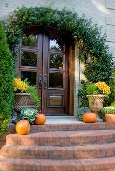 Front door and porch in fall - love potted plants and color Windows And Doors, Front Doors, Front Porch, Front Walkway, Glass Panel Door, Panel Doors, Outdoor Living, Outdoor Decor, Outdoor Art
