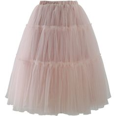 Chicwish Amore Tulle Midi Skirt in Pink ($51) ❤ liked on Polyvore featuring skirts, bottoms, pink, calf length skirts, brown midi skirt, pull on skirt, midi skirt and pink skirt