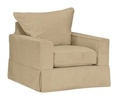 PB Comfort Square Arm Slipcovered Armchair, Knife Edge Polyester Wrapped Cushions, Performance Tweed Latte