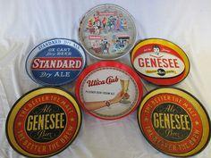 6 Vintage Beer Trays Genesee Standard Ox Cart Dry Ale Utica Club Knickerbocker