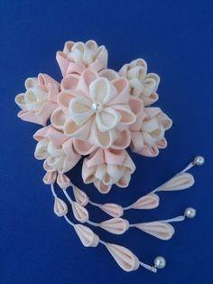 桃色 正絹つまみ細工かんざし 髪飾り ピンク 成人式振袖