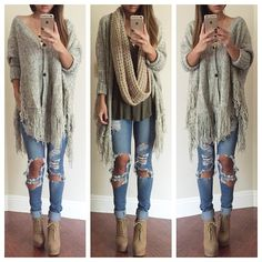 Oversized Fringed Cardigan - Top | Lookbook Store