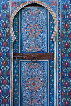 Painted door from Fès's restored palace, Dar Tazi, Morocco.