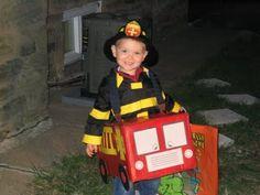 DIY Firetruck, Fireman Costume Halloween Cardboard box, paint and Daddy's Suspenders #halloween