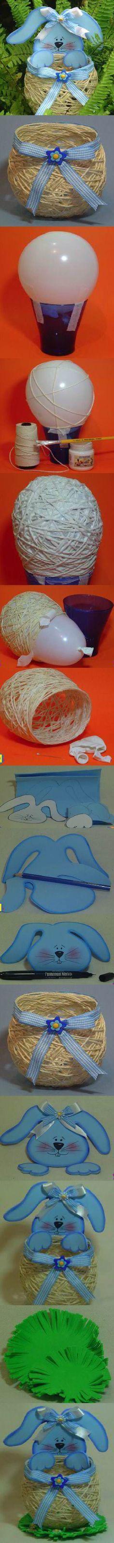 DIY Yarn String Easter Basket .: