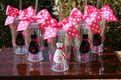 Bride and bridesmaid cups! Cute and you don't have to worry about spilling your drink.