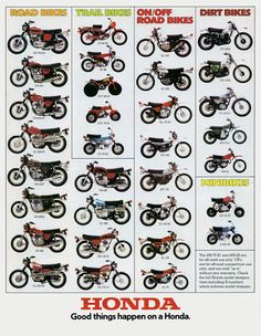 1974 HONDA LINE UP (Rickster G) Tags: pictures classic vintage honda ads photo flyer image photos picture motorcycles literature oldschool sl trail photographs 350 photograph motorcycle 70s dirtbike collectible sales brochure rare xl 250 thumper motorsport enduro dealer 125 twinshock vjm vinduro